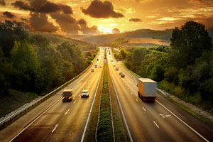 autostrada al tramonto